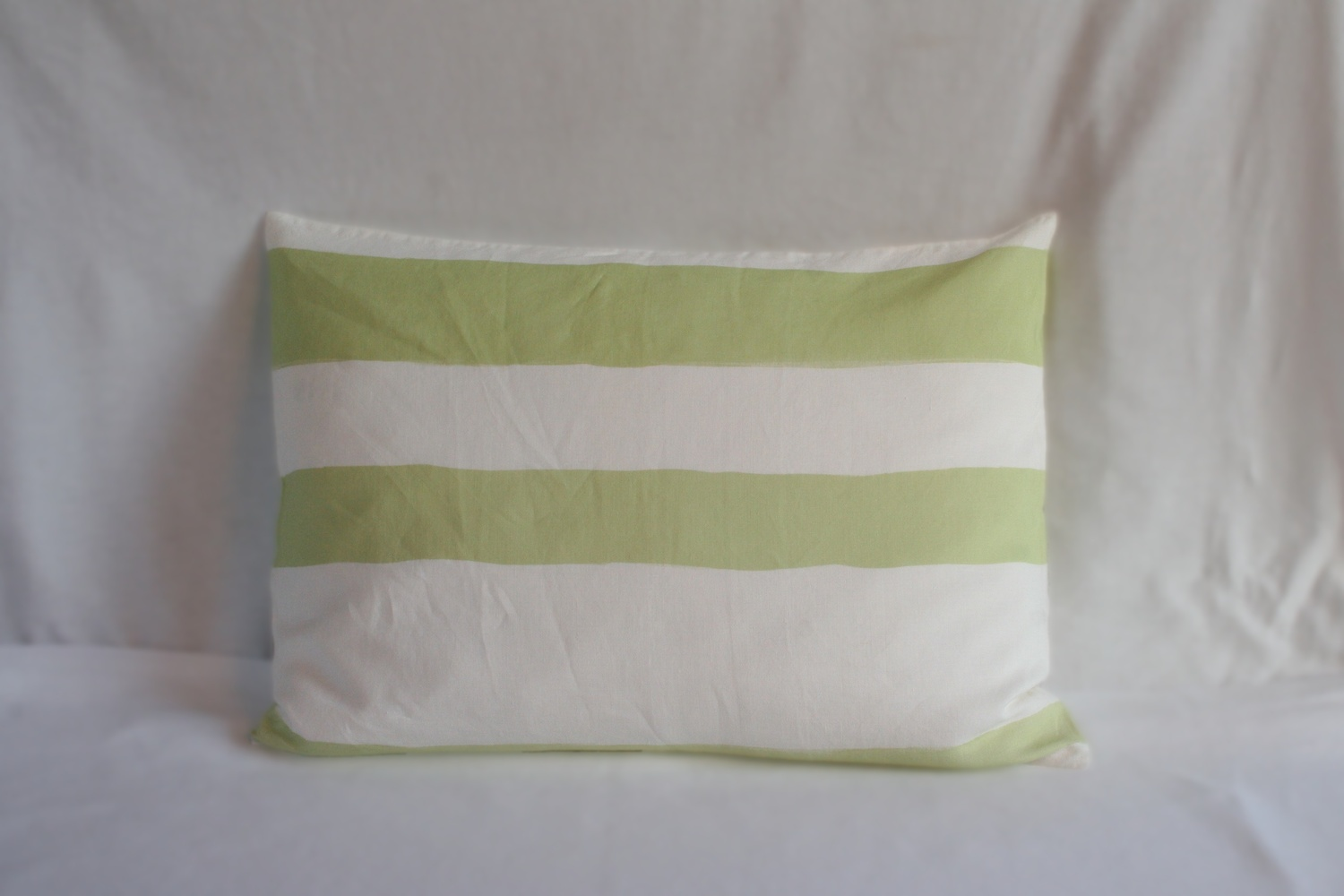 Flemish Landscape / Set of duvet cover and pillow case with thick green stripe